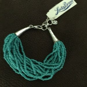NWT Lucky Brand Silver/Turquoise Horn Bracelet